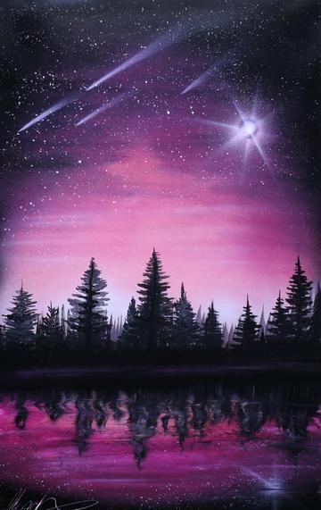Billions Stars Sky Painting Night Sky Painting Scenery Paintings
