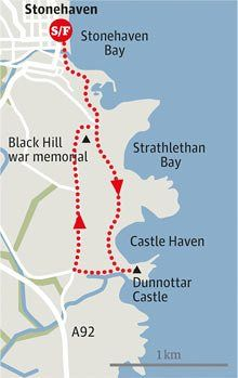 Dunnottar castle walk graphic