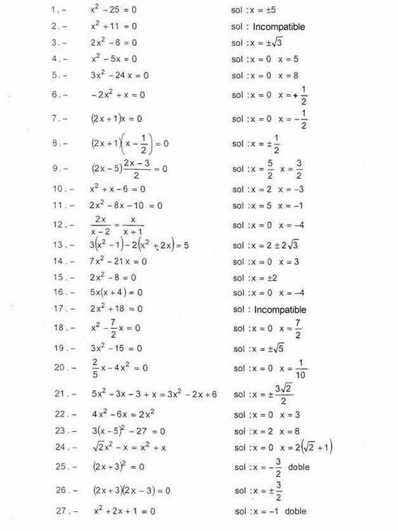 Ejercicios De Ecuaciones De 2º Grado Completas E Incompletas Ecuaciones Cuadraticas Matematicas Avanzadas Matematica Ejercicios