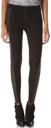 Alice olivia Front Zip Leggings with Leather Panels Alice   Olivia
