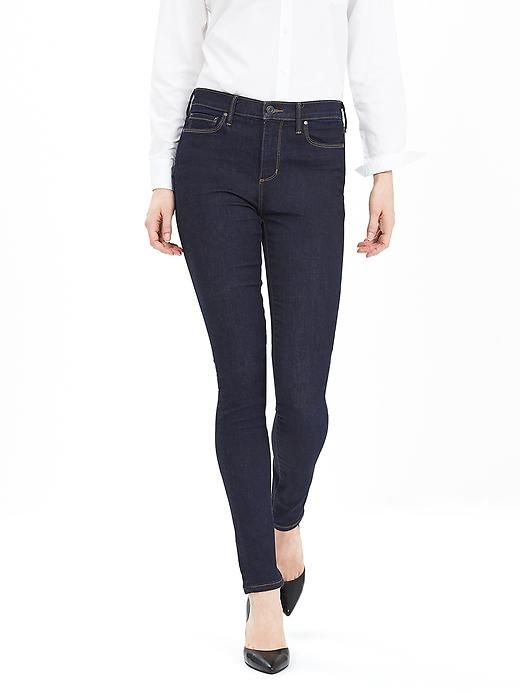 Dark-Wash High-Waist Skinny Jean. Super simple but clean cut and looks great with everything.