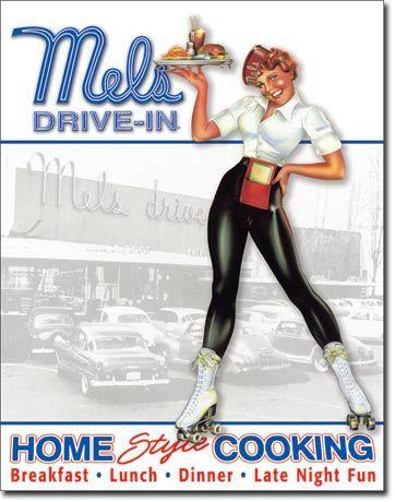 Mels Diner Car Hop Vintage Sign - Vintage Sign Shack