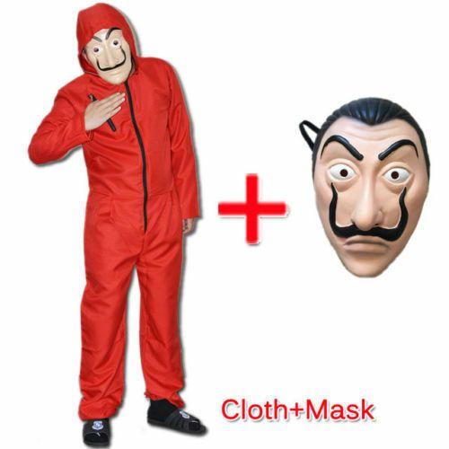 Karneval Jumpsuit Salvador Dali Maske La Casa De Papel Haus Des Geldes Kostüm