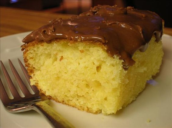 sour cream yellow cake - Starts with a mix but tastes totally homemade from scratch. Same recipe can be used with other flavor mixes. Great when you need a last minute dessert.