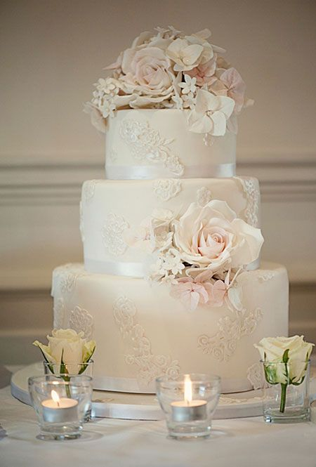 Wedding cake http://www.brides.com/blogs/aisle-say/blush-ivory-lace-wedding-cake-flower-topper.jpg #weddingcakes