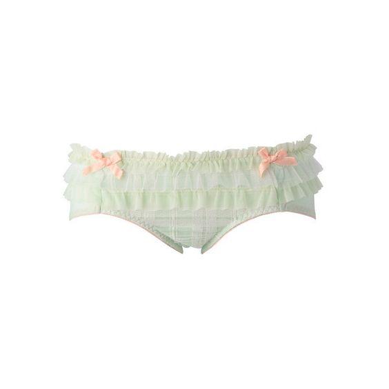 ポム チェックトリプルチュールショーツ ❤ liked on Polyvore featuring lingerie