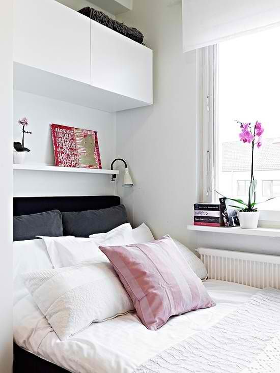 Over bed, and on sides!! Perfect! - Use Ikea picture ledges... Small  bedroom storage over bed. #KBHomes   Home decor ideas   Pinterest   Small