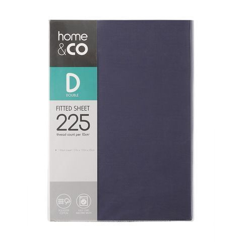 225 Thread Count Fitted Sheet Double Bed Denim Kmart