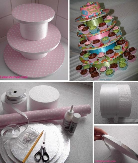Cupcake stand, did this for my baby shower a couple of ...