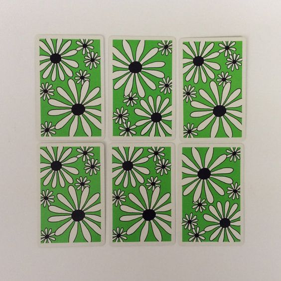 6 Vintage Art Deco Retro Green Flower by ChinaBooksCardsnMore