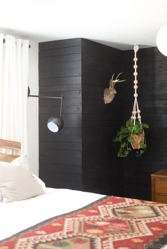 wallpaper living room wall 2 loveseats black shiplap panelling - oleander + palm