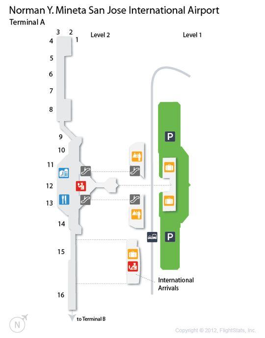 SJC Norman Y Mineta San Jose International Airport Terminal Map
