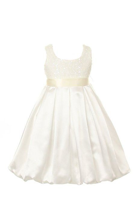 Amazon.com: Satin Bubble Sequin Bodice Special Occasion Holiday Flower Girl Dress 2-14: Clothing