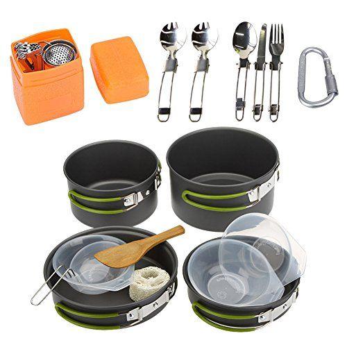 8 in 1 Kochset Campinggeschirr Topf Kit Outdoor Wandern Kochen Geschirr Set DE