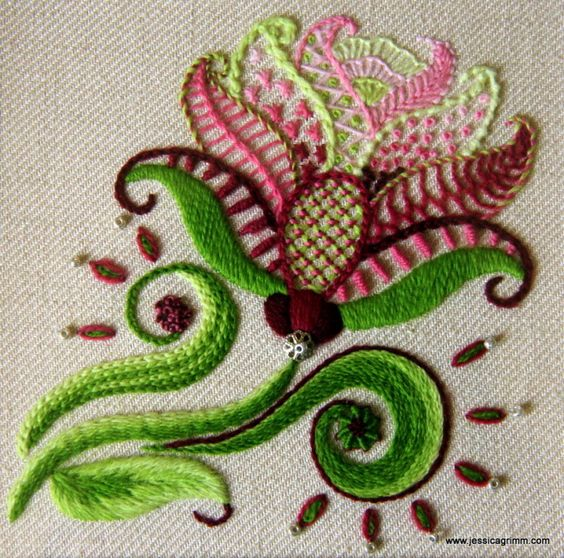 Kit/Stickpackung Carol's Rose Crewel embroidery - advanced