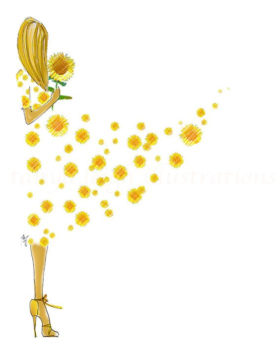 Coming Up Sunflowers by Tanya Leigh  8x10 Fashion by DrawnToStyle, $20.00