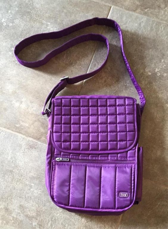 LUG Messenger Cross Body Purse Day Pack - Purple Quilted Water Bottle Day Bag #Lug #MessengerCrossBody