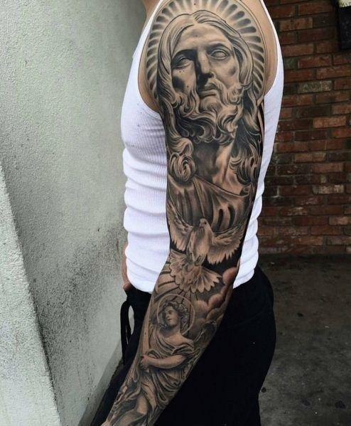 Jesus Half Sleeve Tattoo : jesus, sleeve, tattoo, Tattoo, Designs