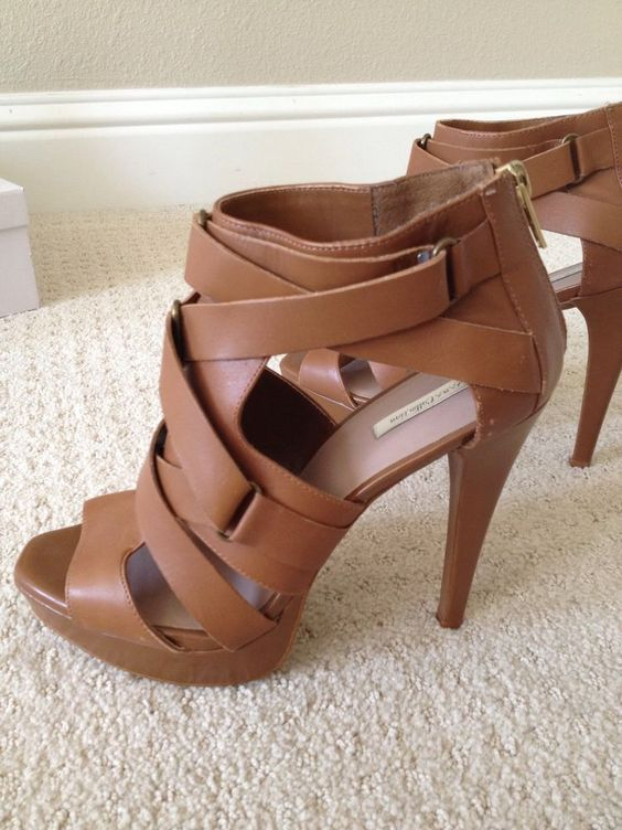 Zara Brown High Heels Sandals Sz 38 7.5 #Gladiator | SHOELAND ...