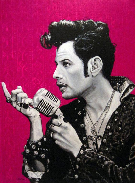 El Vez , The Mexican Elvis, acrylic, 100 x 73 cm. by Fernando Martínez Campello, via Behance
