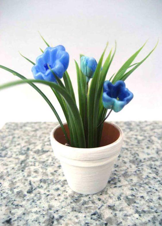 Glasblume-Blaues-Wunder.  Aussergewöhnliches Blumen - Geschenk. Immerblühende Glasblumen aus Muranoglas. Handgemacht - Unikat