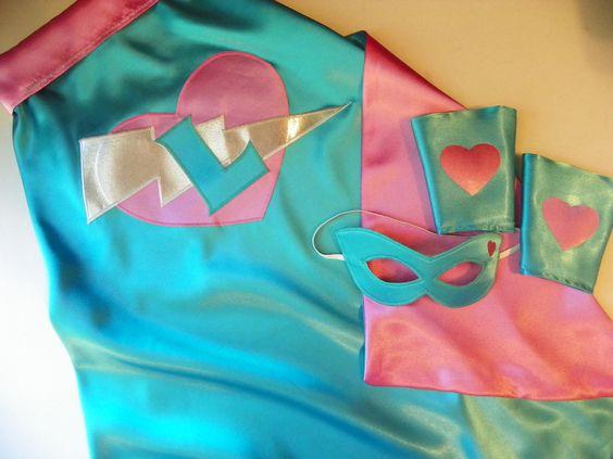 Girls superhero set! Cape, mask, cuffs