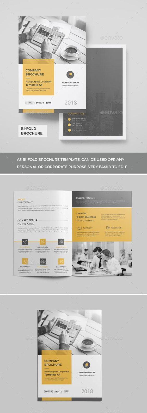 Corporate Bi Fold Brochure 2018 Brochure Template Design Ideas Bi Fold Brochure Brochure Template Graphic Design Brochure