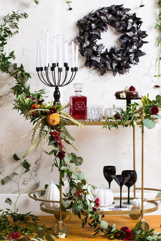 Spooky DIY Floral Bar Cart