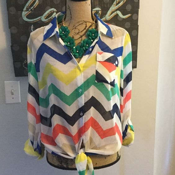 Cute Chevron Top by New Direction Cute sheer chevron top by New Direction. Sleeves can be rolled up or left long. Bottom can be tied or tucked in. Great top for summer, pair it with shorts, capris or jeans. New Direction Tops Blouses