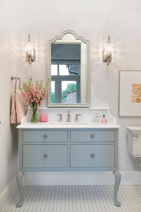 Elegant White And Blue Bathroom Bathroom Boasts A Gray French Washstand With Cabriole Legs Placed On Basketweave Floor Vanity Design Home Decor Bathroom Decor