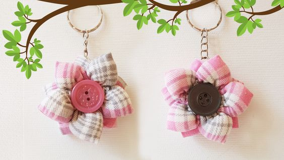 Flower from Fabric Trinket Craft Tutorial: For Keys and Gift | Цветок из Ткани - Брелок Для Ключей