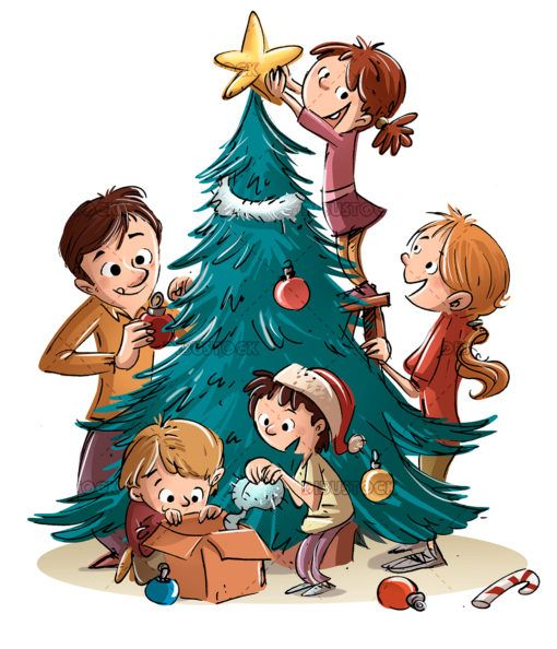 Family Decorating Christmas Tree Christmas Tree Drawing Christmas Tree Decorations Christmas Tree