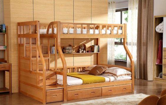 Litera moderna cama literas ni os de madera de abedul cama - Literas en l para ninos ...