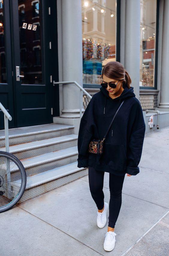 Last Weeks of Winter in Hoodies - Crystal Sundays | Black hoodie outfit,  Outfits with leggings, Oversized hoodie outfit