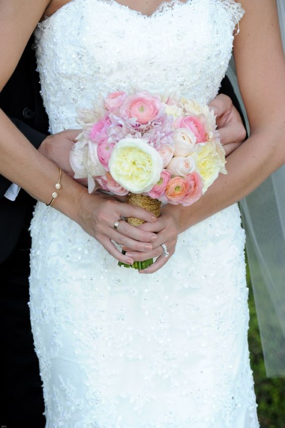 Nosegay style bridal bouquet with roses and peonies   One Fine Day Photography   villasiena.cc
