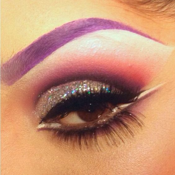 Fun and festive look by @pritylipstix using #Sugarpill and #MACcosmetics eyeshadows! Love the bold purple brow. #eotd