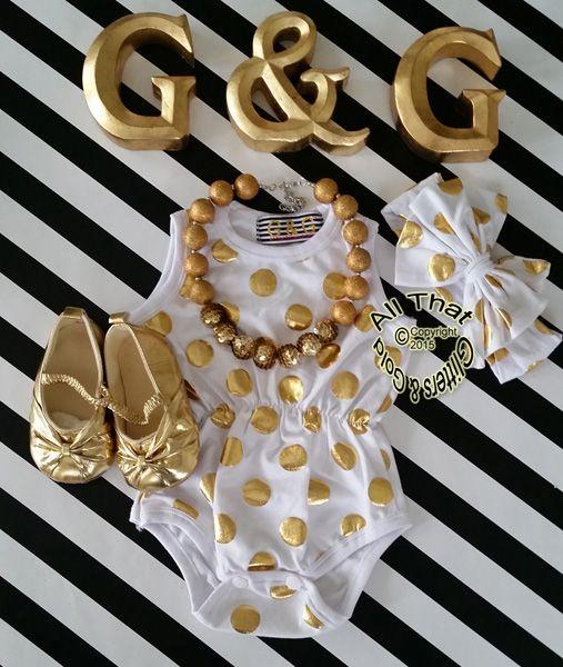 White and Gold Polka Dot Baby Girls & Little Girls Tank Sleeveless Bodysuits Rompers