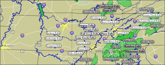 Map of Tennessee WaterFalls