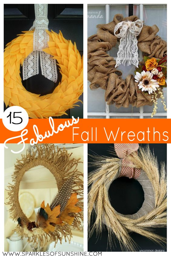 Get inspired to make your own fall inspired home decor with this beautiful collection of 15 Fabulous Fall Wreaths.