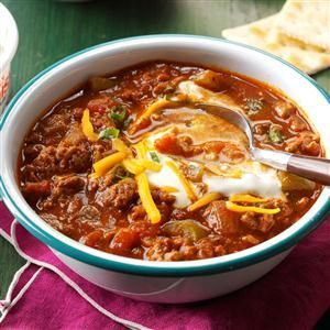 Double-Duty Hearty Chili Without Beans Recipe -When it's time to build my zesty chili, I combine everything the night before. In the morning, I load the slow cooker and let it do the work. —Molly Butt, Granville, Ohio