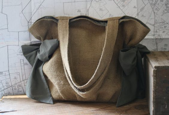 Orchard Bag Ready to Ship Burlap and Olive Green by JFinchStudios