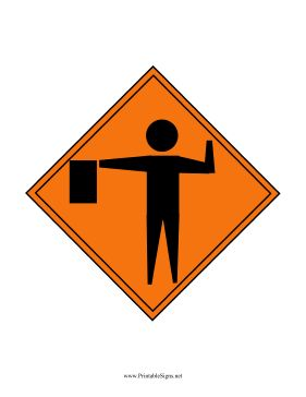 Construction Flagger Printable Sign, free to download and print