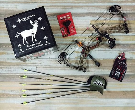 Hoyt Defiant, with an Axcel Accutouch, Ripcord Ace, B-Stinger Stabilizer, Hips Whitetail target, Grim Reaper Broadheads, Gold Tip Hunter Pro arrows, and a Scott Shark Release