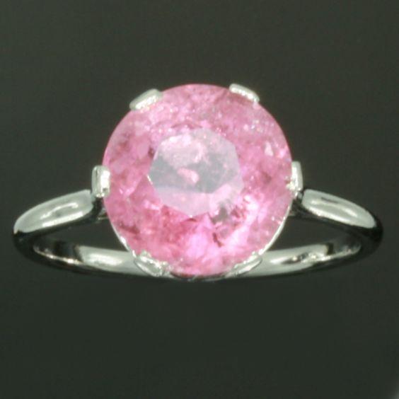 Pinker than pink estate platinum engagement ring set with tourmaline