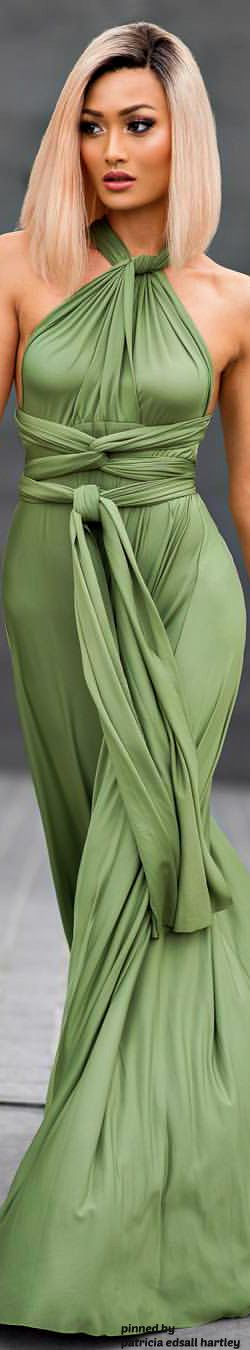Micah Gianneli ~ Stunning Mossy Long Flowing Evening Gown