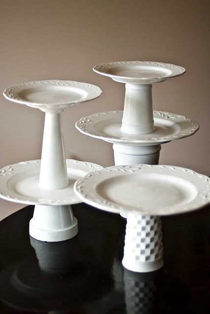 how to make your own cake stand and dessert tower!