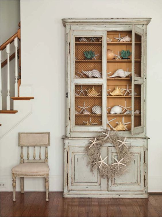 Repurposed hutch china cabinet distressed painted white ...