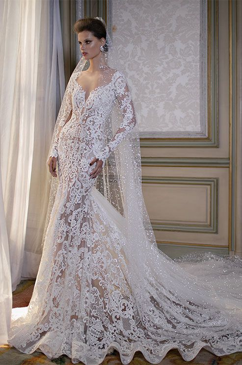 Berta illusion wedding dress with long sleeves and for Long veils for wedding dresses