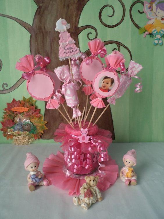 D coration de table pour un bapt me rose bonbons - Centre de table en bonbon pour mariage ...