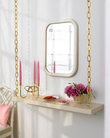 Dress up a suspended shelf with a length of chain.